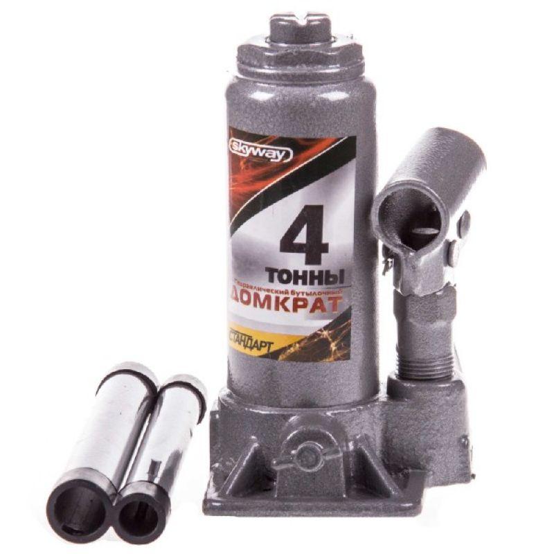 Домкрат гидравлический бутылочный 4т h 168-328мм SKYWAY STANDART
